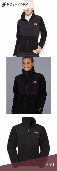 The North Face Pink Ribbon Denali Fleece Support a worthy cause with this limited-edition Denali jacket featuring the iconic pink ribbon at the sleeve. Limited Edition!  Front zipper closure Long sleeves; pink ribbon embroidered at left cuff Welt pockets at side waist; single welt pocket at left chest Cinchable cord at hem Insets at chest, back yoke and sleeves; logo at left chest Zip-in compatible with other products from The North Face Polartec® fleece Lightweight Lined Machine Washable…