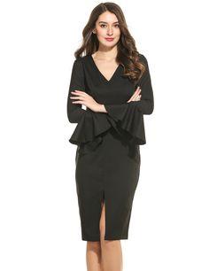 Black Women Fashion Elegant Slim V-Neck Long Flare Sleeve Solid Bodycon Pencil Dress