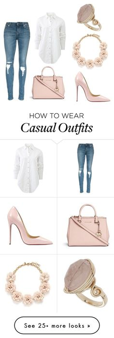 """#nude #casual #chic"" by nicolekon on Polyvore featuring Michael Kors, rag & bone, Christian Louboutin, J.Crew, Topshop, women's clothing, women, female, woman and misses"