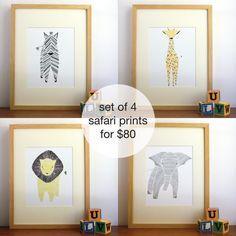 Set of 4 Safari Prints - Nursery Art, Nursery Decor, Jungle Animals Free US Shipping