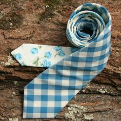 Deadstock Seafoam Gingham and 1940s Floral Necktie from General Not & Co.