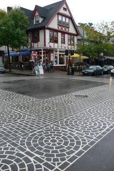 Crosswalk Art - photo from Now That's Nifty Street Signs, Street Art, Pedestrian Crossing, Pavement Art, Pocket Park, Public Art, Public Spaces, Landscape Design Plans, Walking Street