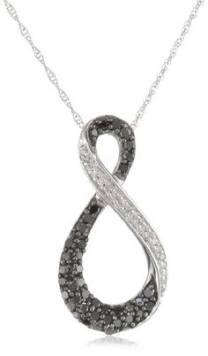 "10K White Gold Black and White Diamond Infinity Pendant Necklace (1/3 cttw, I-J Color, I2-I3 Clarity), 18"" for sale"