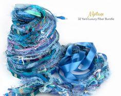 Neptune Fiber Art Yarn. 32 Yard Novelty Yarn, Ribbon and Art Fiber Bundle.