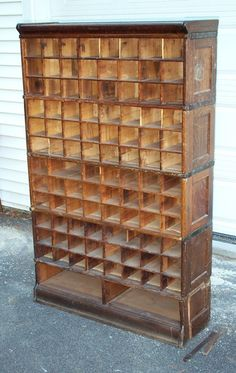 Globe Wernicke File Cabinet | RARE Antique Globe Wernicke Post Office Bookcase File Completed This would make such a good wine rack!