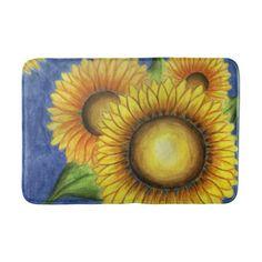 Summer Sunflower Bath Bathroom Mat Rug Gift