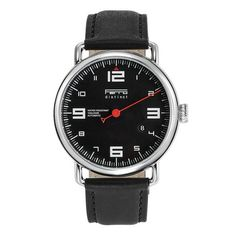 Ferro Distinct Quartz Black Face Black Strap Red Hand   / Single Hand