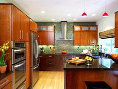 Cherry and Emerald Modern Zen Kitchen in Beautiful, Efficient Kitchen Design and Layout Ideas from HGTV