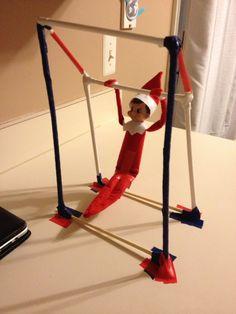 Elf on the shelf gymnast: Glide kip