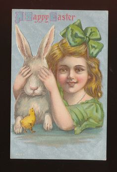 Easter~Victorian Girl in Green~Covers Eyes of Bunny Rabbit~Emb. Postcard-ppp156 #Easter