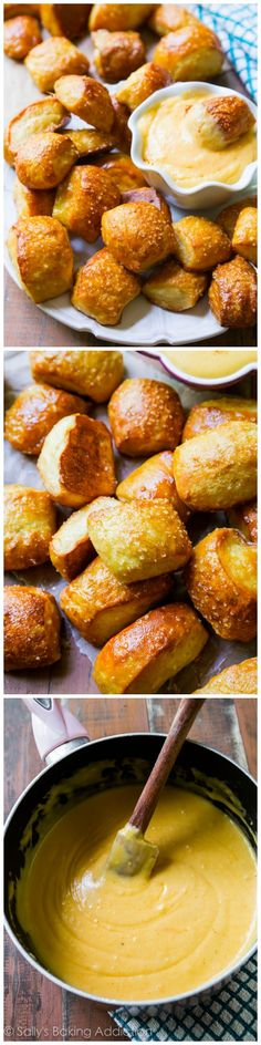 The BEST Soft Pretzel Bites - and they are so easy to make. Serve with my spicy kicked-up cheese sauce! JC: so good with the cheese sauce. Appetizer Recipes, Snack Recipes, Cooking Recipes, Appetizers, I Love Food, Good Food, Yummy Snacks, Yummy Food, Delicious Dishes