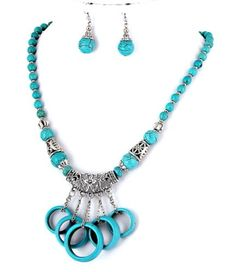 Gemstone Turquoise Aged-Silver Color Metal Necklace & Earring Set / AZFJGE007-TUR Arras Creations http://www.amazon.com/dp/B00GRRB6D0/ref=cm_sw_r_pi_dp_VFuqvb0M0ACSX