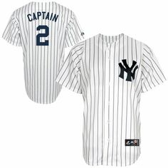 Majestic Derek Jeter 'CAPTAIN' New York Yankees #2 Majestic Replica Jersey - White Pinstripe