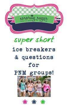 If you will be a Rho Gamma • Gamma Chi • Pi Chi in the fall and need some quick bonding activities for your PNM group, sorority sugar has some short ice breakers and daily wrap-up questions for you to use! <3 BLOG LINK: http://sororitysugar.tumblr.com/post/123122264864/rushtalk-pi-chi-o-pnm-group-inspiration-ice#notes