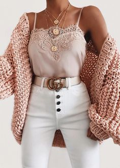 Bubble knit cardigan outfit idea for fall! Casual outfit with a cardigan, lace c. - Bubble knit cardigan outfit idea for fall! Casual outfit with a cardigan, lace cami, and white high - Winter Fashion Outfits, Cute Fashion, Look Fashion, Womens Fashion, Fashion Ideas, Fashion Belts, Fashion Trends, Fashion Spring, Gucci Fashion