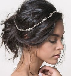 A white gold headpiece featuring a sparkling row of shiny crystals. This bohemian headpiece will look beautiful in any hairstyle. Also available in ROSE GOLD & GOLD - White Gold over Sterling Silver -
