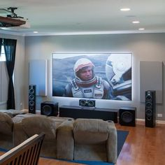 Featured Home Theater System: Conrad in Chicago, IL Home Theater Room Design, Home Cinema Room, Home Theater Furniture, Home Theater Setup, At Home Movie Theater, Home Theater Rooms, Living Room Speakers, Desk In Living Room, Graveuse Laser