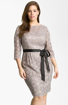 Rehearsal dinner?  Alex Evenings Sequin Lace Sheath Dress (Plus Size) available at #Nordstrom