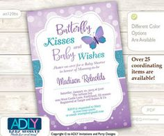Butterfly Kisses and Baby WIshes Invitation for Baby Shower with bokeh purple silver glitter,. - Butterfly Kisses and Baby WIshes Invitation for Baby Shower with bokeh purple silver glitter, butte - Baby Shower Favors, Baby Shower Parties, Baby Shower Themes, Baby Shower Decorations, Baby Shower Invitations, Shower Ideas, Baby Shower Purple, Butterfly Baby Shower, Butterfly Kisses