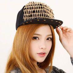 Cool studded hip hop cap for teens rivets snapback baseball caps