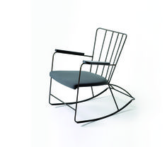 Ernest Race was a pioneer in steel rod furniture manufacturing techniques, this Rocker from 1948 is another example of how he took advantage of the material's flexible form.  Racefurniture.com  comes in white, black, graphite gray, metallic silver, red, yellow