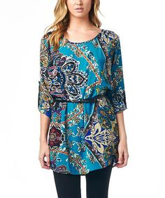 This Turquoise & Navy Paisley Tunic by Funky is perfect! #zulilyfinds