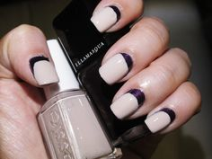 two toned purple and nude nails