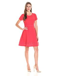 Lark & Ro Women's Short-Sleeve Stretch Fit-and-Flare Dress - Short-sleeve dress in fit-and-flare silhouette featuring princess seaming and lattice-work detailing at hemline Concealed back zipper Model is 5′ 10″ and wearing a size 4