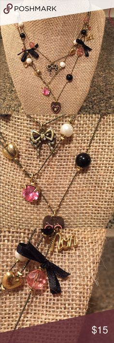 Betsey Johnson necklace Cute necklace with bows, heart, pearls, bows, beads, bow. Betsey Johnson Jewelry Necklaces