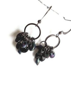 Magatama beaded dangle cascade earrings by PinkCupcakeJC on Etsy, $10.00