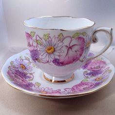 Roslyn china teacup and saucer, Ambleside pattern, English bone china