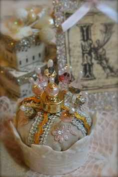 crown pincushion could work as a table decoration for a prince baby shower too using some blue colors