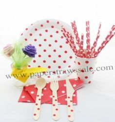Red Polka Dot Party Tableware Set http://www.paperstrawssale.com/168-pieceslot-red-polka-dot-party-tableware-set-p-858.html