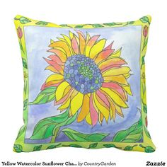 Yellow Watercolor Sunflower Chartreuse Green Pillow
