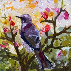 Abstract Mockingbird In Spring  Painting