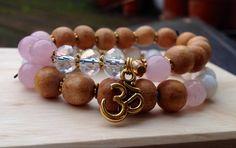 Om yoga Bands set Swarovski crystals rose quartz by Yashodara