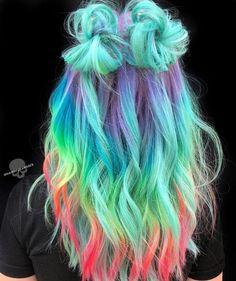Cute Hair Colors, Pretty Hair Color, Beautiful Hair Color, Hair Color Purple, Hair Dye Colors, Blue Ombre, Amazing Hair Color, Ombre Hair Rainbow, Rainbow Hair Colors