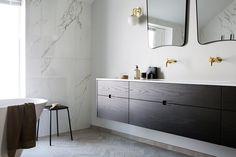 Hamran Snekkerverksted - Lilly is Love Viking Designs, Kristiansand, Gio Ponti, Bathroom Inspo, Marble Countertops, Bath Time, Double Vanity, Modern Furniture, Designer