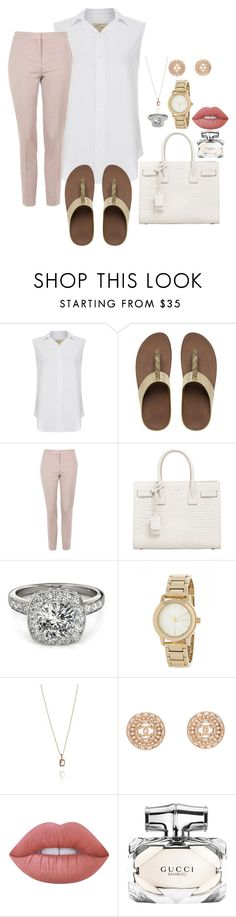 """S01"" by cid-paradero on Polyvore featuring Current/Elliott, FitFlop, Topshop, Yves Saint Laurent, Allurez, DKNY, Chanel, Lime Crime and Gucci"