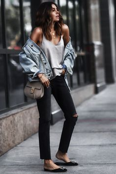 denim + silver satin