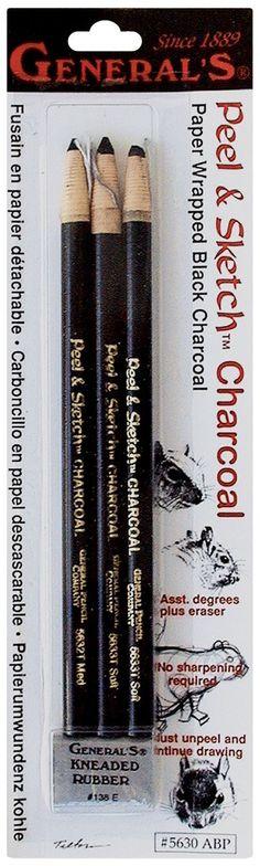 General Pencil Peel /& Sketch Lot de 4 Crayons fusains Gomme Noir