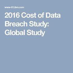 2016 Cost of Data Breach Study: Global Study