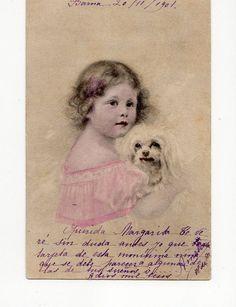 Lovely Little Girl with Maltese dog vintate by sharonfostervintage, $6.00