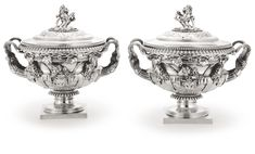 A pair of George III silver sauce tureens, covers and liners, Benjamin Smith II & Benjamin Smith III, London, 1817 | Lot | Sotheby's