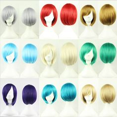 1PC Free shipping 25cm Short Wigs Straight Womens Nautral Cosplay Wig Full Panic Synthetic Green/Purple/Beige/Gray Bobo Wigs  -- Offer can be found by clicking the image