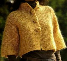 Yellow knitted jacket