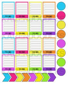 PRINTABLE Colorful Life Planner ToDo Tags Dots by KaiZenDoodles