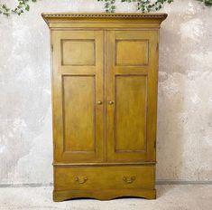 Victorian Pine Cupboard In Ochre Yellow - Antiques Atlas Cooking Utensils, Hanging Hooks, Pine Furniture, Ochre, Cupboard, Hanging, Pine, Yellow, Victorian