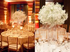 babys breath wedding centerpieces.  Wouldn't this be pretty with green hydrangeas?