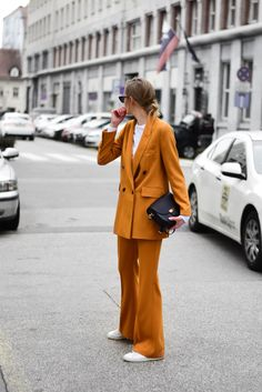 ZARA mustard suit - Katiquette